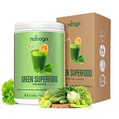 Green Superfood by Natrogix Super Greens Powder - 32 Whole Food Ingredients - Spirulina, Chlorella, Spinach, Barley / Wheat Grass…Probiotics Enzymes for Digestion Health. oz 30 Day, Upgraded Taste - Health and Personal Care Organic Greens Powder, Super Greens Powder, Healthy Breakfast Smoothies, Yummy Smoothies, Green Smoothies, Carb Free Diet Plan, Amazing Grass, Green Superfood, Superfood Powder