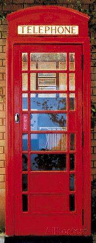 This would be fantastic glued to a bathroom door in a family room London Telephone Box Giant Mural Poster Wallpaper Mural at AllPosters.com