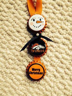 Denver Broncos Snowman Bottle Cap Ornaments ~Custom Ornament For ANY NFL Team~