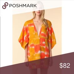 Rodebjer Mali Tunic--amazing The Mali tunic. Inspired by West African prints. Rodebjer is a design house to watch! Originally sold on Polyvore for $230. It's chic and exudes confidence. The deep golden yellow and bright orange print combined with the interesting design details make this a statement piece. Copper toned button on the backside of the kimono style sleeves can be worn open or closed-in person it looks amazing. It's gorgeous w/sandals, over a bandeau or bikini with bare legs…