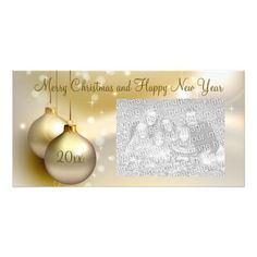 Gold Christmas Balls on Gold Photo Card