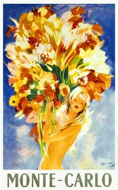 Monte Carlo by Demergue 1952 France - Beautiful Vintage Poster Reproduction. French travel poster features a nude blonde woman with a huge bouquet of flowers against a blue background. Giclee Advertising Print. Classic Posters