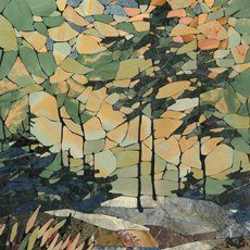Morning in the Forest - graphic polished mosaic 500h600. Sayanogorsk 2000. Easel mosaic - Sergey Karlov