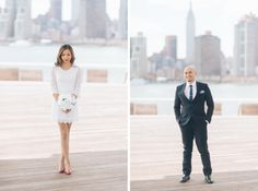 Bride and groom pose in front of the NYC skyline in Gantry Plaza State Park. Captured by NYC City Hall wedding photographer Ben Lau.