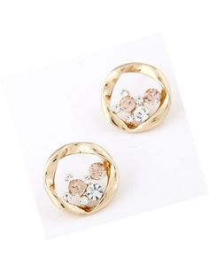 Sweet Korean Style OL Rhinestone Embellished Circle Ear Studs Earrings Beige YW15041502http://www.clothing-dropship.com