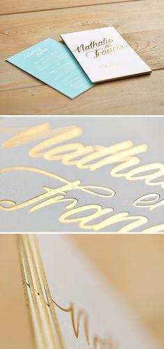 Nathalie & Francis Huwelijk - uitnodiging - letterpress - goudfolie