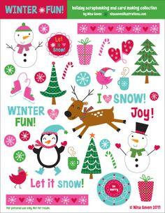FREE Printable Holiday Scrapbooking elements http://dl.dropbox.com/u/10513020/winter%20fun%20scrapbook%20elements%202.pdf