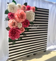 A Beautiful ROSES BACKDROP (with striped walls and flowers) k ♠ # katespade # paperflowers - New Deko Sites Paper Flower Backdrop, Paper Flowers Diy, Paper Roses, Paper Flower Wall, Kate Spade Party, Kate Spade Bridal, 40th Birthday Parties, Birthday Party Decorations, Birthday Ideas