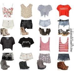 Cropped tops and shorts