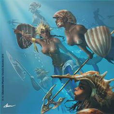 Olokun warriors ~ mermaid warriors by Chevelin Pierre Cartoon Kunst, Comic Kunst, Cartoon Art, Comic Art, Art Black Love, Black Girl Art, Art Girl, African American Art, African Art