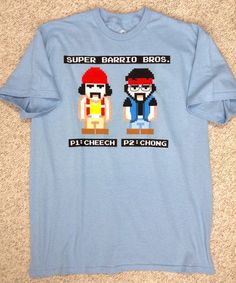new-with-defect CHEECH AND CHONG SUPER BARRIO BROTHERS T-SHIRT Blue Video Game #LiquidBlue #GraphicTee