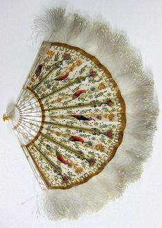 A Belle Epoque folding fan, by Duvelleroy, circa Composed of painted silk, feathers and mother-of-pearl. Antique Fans, Vintage Fans, Hand Held Fan, Hand Fans, Whatsoever Things Are Lovely, A Little Night Music, Fancy Hands, Chinese Fans, Parasols