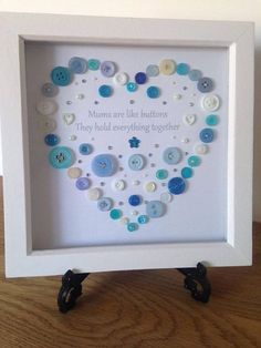 A personal favourite from my Etsy shop https://www.etsy.com/uk/listing/498865349/mums-button-art-heart-design-picture
