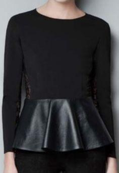 black   lace peplum top.