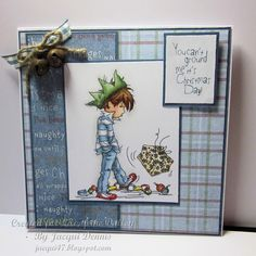 LOTV - Stroppy Boy Christmas Present by Jacqui Dennis Christmas Presents For Boys, Mo Manning, Boy Cards, Cat Whiskers, Xmas Cards, Fall Cards, Greeting Cards, Penny Black, Lily Of The Valley