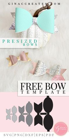 Free Svg Bow Template To Use With Cricut Or Silhouette Cutting Machines Diy Hair Bows, Diy Bow, Ribbon Hair, Fabric Hair Bows, Bow Hair Clips, Bow Template, Hair Bow Tutorial, Flower Tutorial, Headband Tutorial
