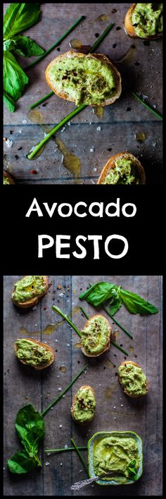 My avocado pesto is a versatile condiment that is great on bread or crackers or with pasta. Avocado, chives, basil, garlic, olive oil, lime, and pine nuts are whipped together to create this tasty spread. Pin for later :)
