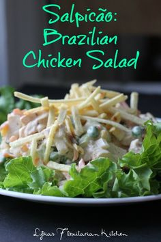 Score Big with Salpicão {Brazilian Chicken Salad} - Lydia's Flexitarian Kitchen Brazilian Chicken, Brazilian Dishes, Brazilian Recipes, Brazillian Food, Fresco, Cooking Recipes, Healthy Recipes, Portuguese Recipes, Chicken Salad Recipes