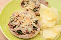 Open-faced tuna & artichoke Melt-  This is one of my favorite fast and healthy meals - a lightened up tuna melt that has a bit of a spicy kick and  lots of lemony flavor piled on a crunchy english muffin.  This is a great recipe to make ahead and keep in the refrigerator for a quick lunch.