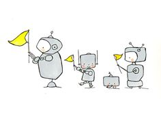 Robots on Parade 8x10 Nursery Art, child wall art, boy nursery, girl nursery, grey and yellow