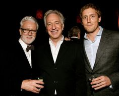 """November 20, 2011 -- Alan Rickman at a """"Seminar"""" after-party in Gotham Hall. The gentleman on the right is Patrick Milling Smith who produced Seminar in NY. I don't know the other gentleman."""