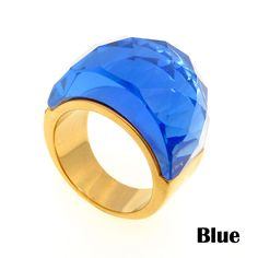 Stainless Steel Gold Ring Wedding Jewelry Big Crystal Rings For Women Vintage Large Stone Rings Party Gift Wholesale | Price: US $5.78 | http://www.bestali.com/goto/32255381511/10