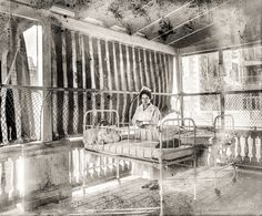 """Washington, D.C., 1919. """"Children's Hospital."""" One of the daybed pavilions characteristic of the contemporary vogue for """"fresh air"""" treatment of tuberculosis."""