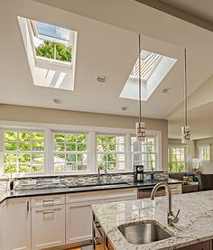From bathroom decor and kitchen lighting to improved indoor air quality, VELUX skylights transform any space with daylight and fresh air Home Decor Kitchen, Kitchen Interior, Kitchen Design, Kitchen Ideas, Home Design, Interior Design, Skylight Bathroom, Casas Country, Kitchen Lighting