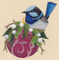 Add a very merry look to pillow covers and stockings with this design. An Australian Blue Wren perches on a fancy Christmas ornament. Machine Embroidery Quilts, Brother Embroidery Machine, Bird Embroidery, Free Machine Embroidery Designs, Cross Stitch Embroidery, Family Christmas Stockings, Horse Quilt, Embroidered Quilts, Quilting Projects