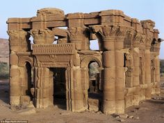The ruins of a kiosk discovered in Naga, religious site near to the ancient Kush city of Meroe, where the rulers were one of the earliest civilisations in the Nile region Sudán. Ancient Buildings, Ancient Architecture, Gothic Architecture, Architecture Design, Ancient Ruins, Ancient History, Mayan Ruins, Ancient Greek, Lost City