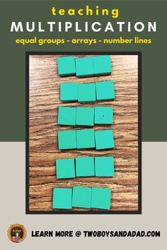 Teaching conceptual understanding of multiplication to 3rd grade students should be a hands on approach to have students build equal groups, arrays and multiplicative jumps on a number line. These foam tiles are great for concretely moving students from additive to multiplicative reasoning. Discover and learn more about my strategies, activities and resources I use to teach the concept of multiplication. #twoboysandadad Math Tips, Math Strategies, Math Resources, Teaching Numbers, Teaching Math, Standards For Mathematical Practice, Teaching Addition, Multiplication Activities, Common Core Math