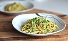 One pot easy peasy pesto pea pasta. You will be surprised how tasty this is!