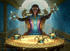 Marionette Master by James Ryman. Magic the Gathering Art.  This piece reminds me of a Dungeon Master moving pawns across the battlefield.