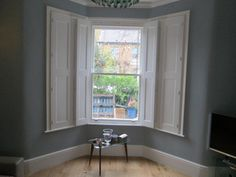 Bespoke Victorian Shutters also known as Victorian shutters, solid panel window shutters, paneled shutters or shaker shutters Diy Bay Window Curtains, White Shutters, Interior Window Shutters, Interior Windows, Wood Shutters, Curtains With Blinds, Window Panels, Indoor Shutters, White Blinds