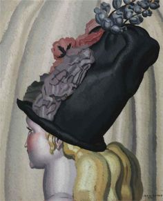 'Portrait of a Woman with Hat' (1924) by French artist Jean Dupas (1882-1964). via WikiPaintings