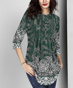Another great find on #zulily! Green Abstract Notch Neck Pin Tuck Tunic #zulilyfinds