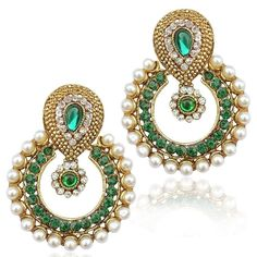 Party Wear Gold Plated White Pearl Designer Traditional Women & Girls Earring #naturalgems15
