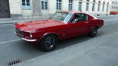 Red 1968 Ford Mustang Fastback in Budapest 1968 Ford Mustang Fastback, Classic Mustang, Pony Car, Budapest, Muscle Cars, Red