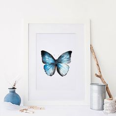 """Watercolour Butterfly Painting PRINT - Signed Watercolour Giclee Print from Original Insect Painting - Gift - Nursery Art - 5x5"""" or 5x7"""" by ClaireLenaArt on Etsy https://www.etsy.com/listing/387636602/watercolour-butterfly-painting-print"""