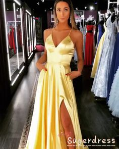 Simple Daffodil Long Prom Dress with Tie Open Back Simple Daffodil Long Prom Dress with Tie Open Back SugerDress WOW Event Planning Classy Yellow Formal Party Dress Elegant nbsp hellip party videos Formal Dresses For Teens, Cute Prom Dresses, Black Prom Dresses, Elegant Dresses, Long Dresses For Wedding, Floral Dresses, Purple Formal Dresses, Maxi Dresses, Types Of Prom Dresses