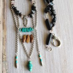 Turquoise Boho Necklace, rose quartz, tribal beaded style, layered silver chain, smooth wood beads, black horn pipe bead, black onyx chips.
