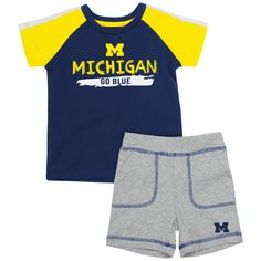 ef9ca1539eef Baby Michigan Wolverines Tee  amp  Shorts Set