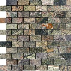 "Epoch 1"" x 2"" Marble Mosaic Tile in Rain Forest Green"