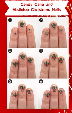 Deck the Halls with These Candy Cane & Mistletoe Christmas NailsStealing a kiss under the mistletoe just got a lot easier with these festive Christmas nails. Want to add some extra flair? Create a fun candy cane border to show everyone you're filled with holiday cheer!