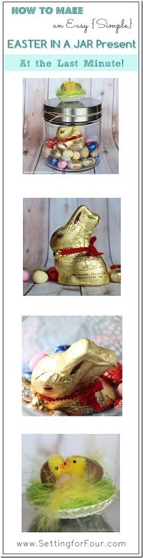How to Make a Last minute, easy Easter Present in a Jar! Low cost and fun Easter treat. Reuse the jar later!