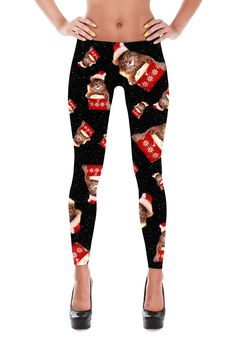 Super Cute Christmas Cat in Space Leggings. Shiny, durable and hot. These polyester/spandex leggings will never lose their stretch and provide that support and comfort you love in unique designs. Made