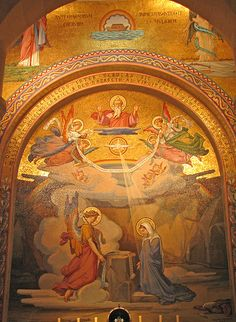 Annunciation Joyful mystery of the Rosary) mosaic, Lourdes, France Each mystery of the Rosary has a mosaic tiled side altar - very nice ♥ Jesus Father, Jesus Is Lord, Catholic Art, Roman Catholic, Catholic Churches, Lourdes France, Outre Mer, Our Lady Of Lourdes, Mama Mary