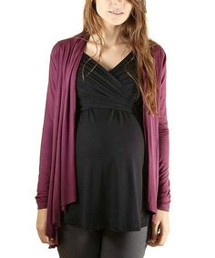 Another great find on #zulily! Wine Maternity Cardigan - Women by Le Fruit Qu'on Fit #zulilyfinds