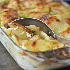 Virtually Homemade: Potato and Apple Gratin - the perfect cheesy combination of sweet and salty! Click for recipe.