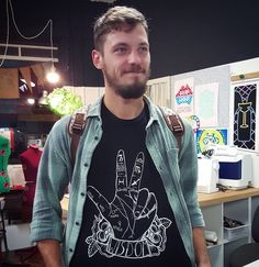 Another print class down, another happy printer. Taylor modelling the shirt he printed in today's Screen Printing Taster Class. Such a good result! ✌👕💯Kicking off this long weekend in style 😉 Long Weekend, Screen Printing, Printer, Tees, Shirts, Kicks, Illustration, Happy, Model